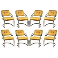 Milo Baughman Style Chrome Dining Chairs