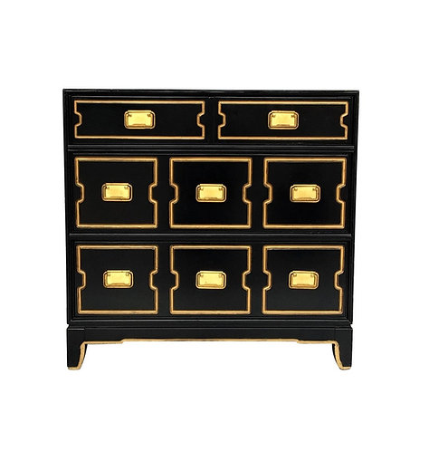 VINTAGE BLACK AND GOLD DOROTHY DRAPER STYLE CHEST