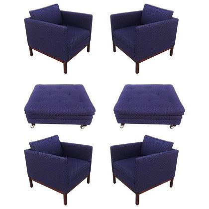 Set of Four Florence Knoll Style Lounge Chairs, Two Ottomans with Wood Bases