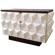 2-Tone Brutalist Diamond Front Lacquered Cabinet