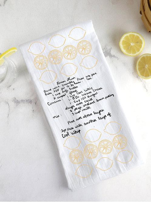Lemon Lush Recipe Flour Sack Tea Towel