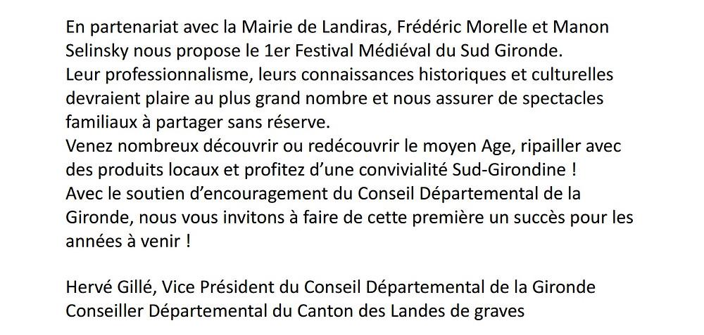 Soutien de Mr Hervé Gillé, Vice président du conseil départemental de Gironde et conseiller départementa du Canton des Landes de Graves
