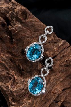 Blue Topaz Dangling Earrings