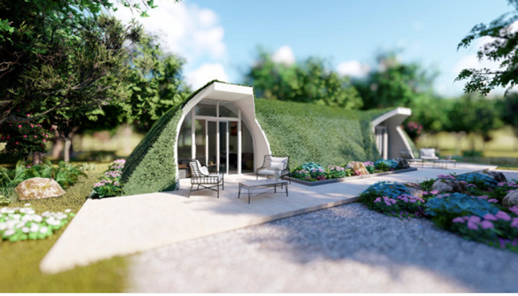 A rendering of a green magic home from GMH's website. This is a dome shaped house snuggled up near some trees. There are floor to ceiling windows to look through.