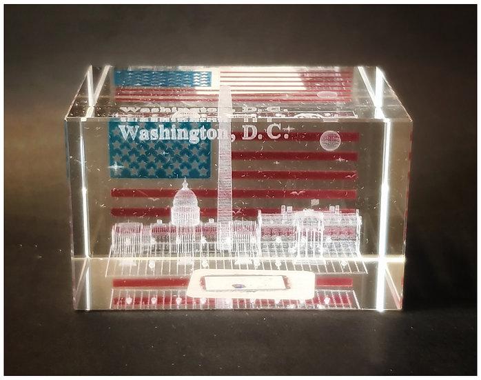 Crystal - Washington DC Laser Etched Hologram Flag