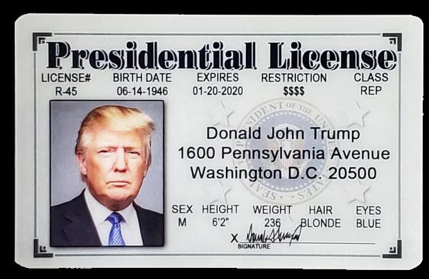 Toy - Trump Presidential MAGA License