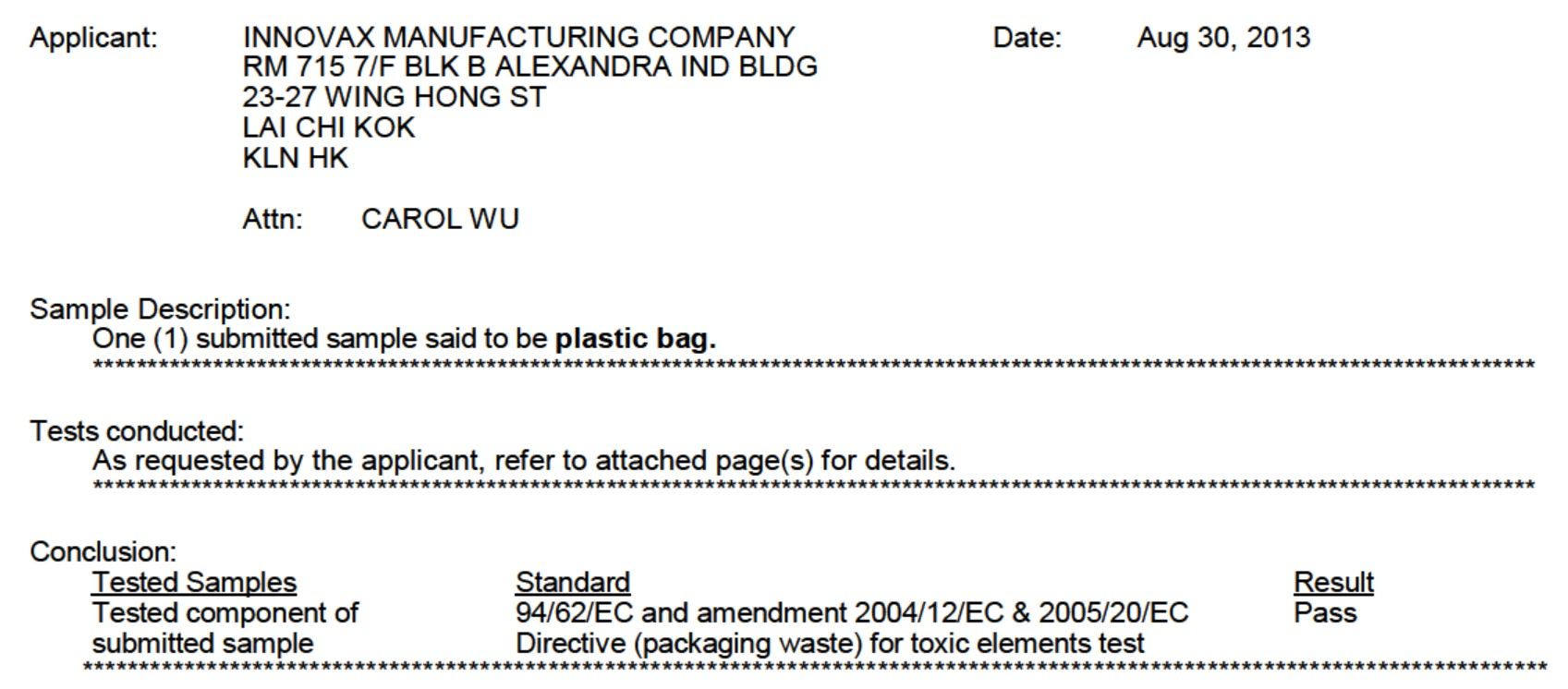plastic bag non toxic