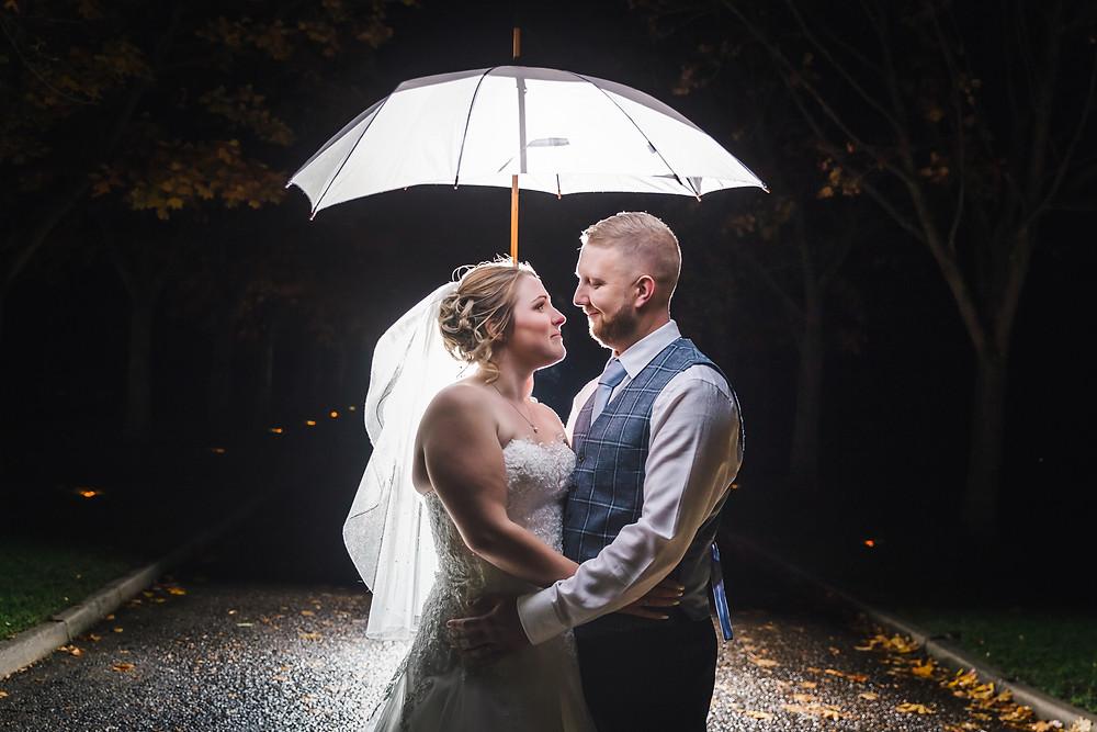 Wedding umbrella, off camera flash