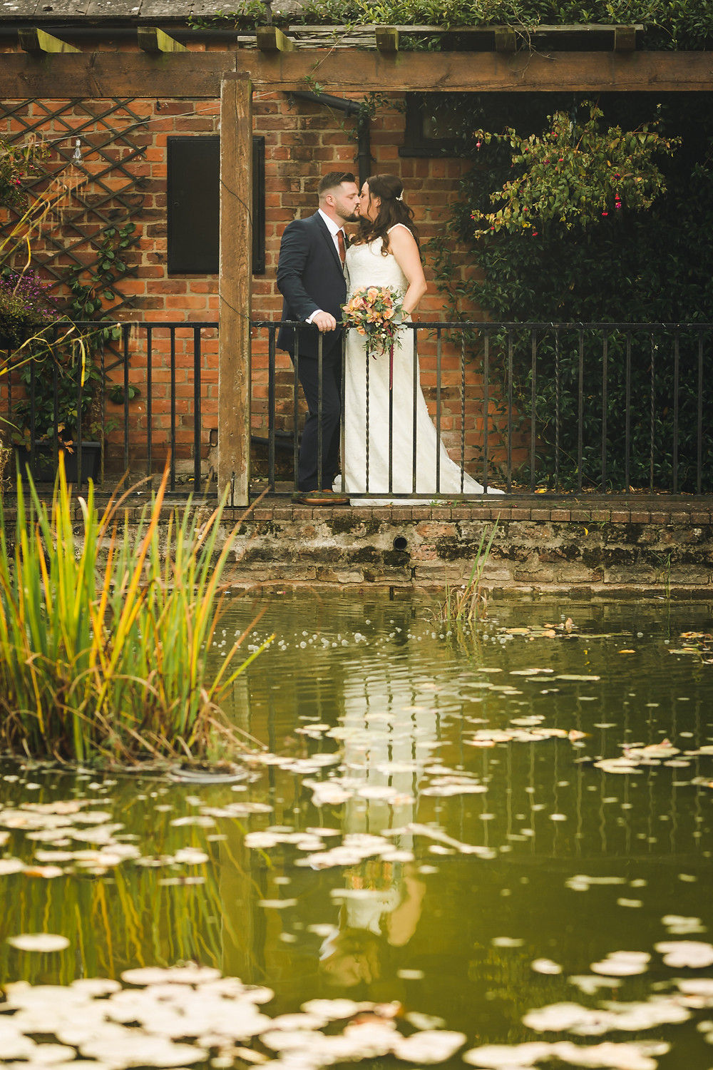newlywed portrait photography reflection