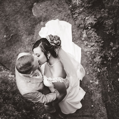 Wedding kiss from above