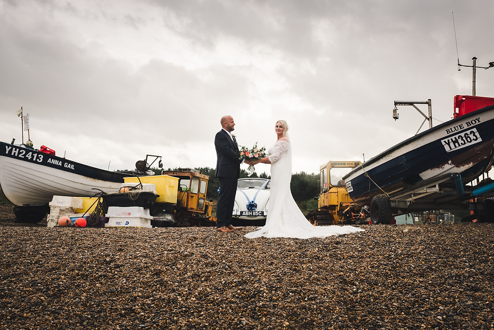 Weybourne Beach Wedding Photography with Daisy The Beetle from Arrive Vintage