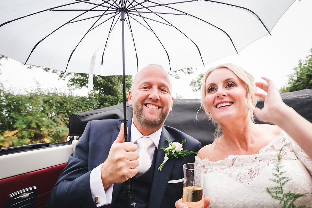 Beetle wedding car and wedding umbrella