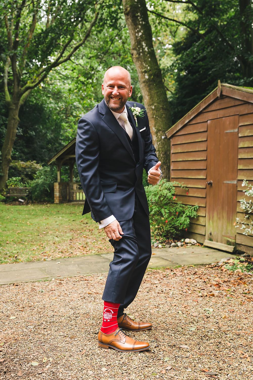 groom wearing Nottingham Forest Football Socks