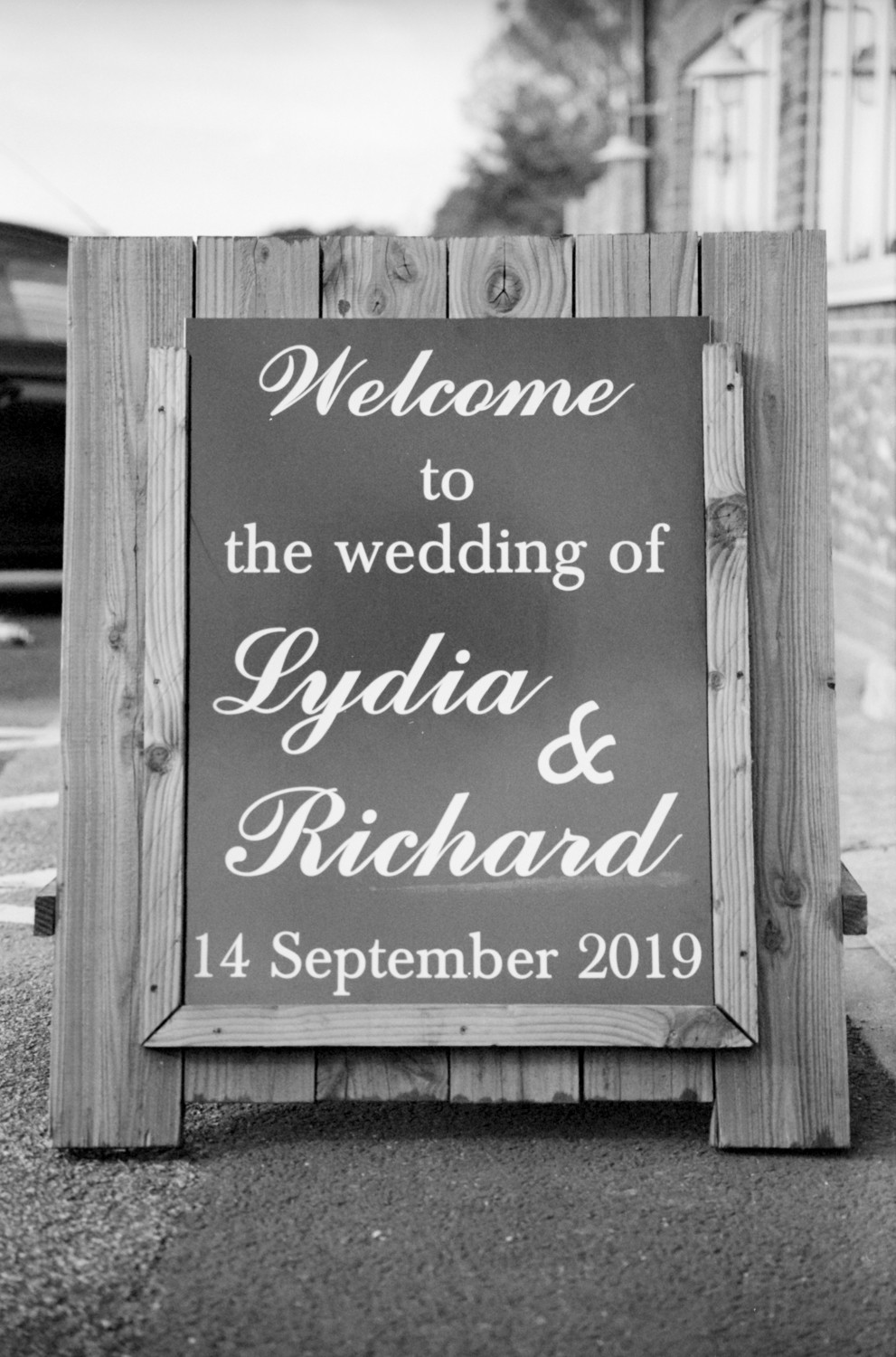 Wedding sign. Kodak BW400CN Wedding photography
