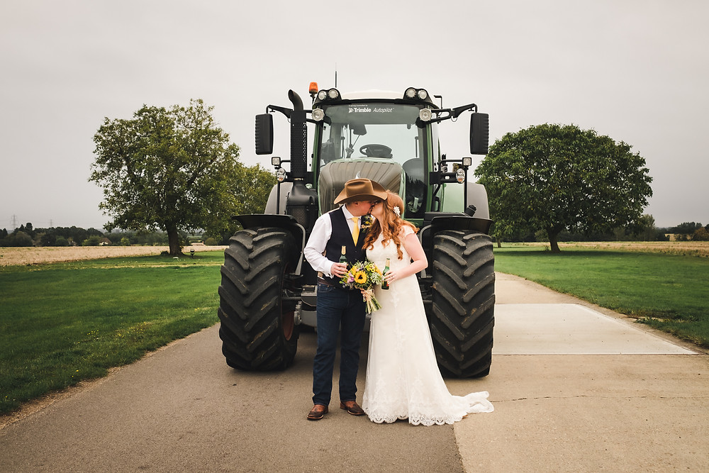 Wedding portrait with tractor