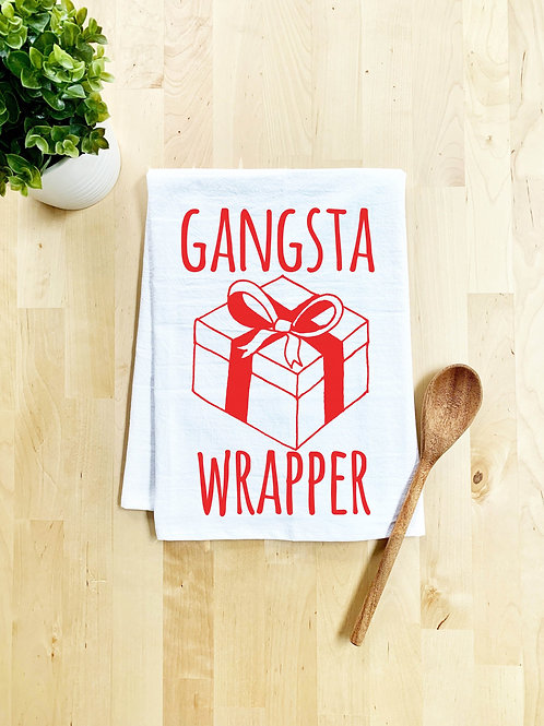 Gangsta Wrapper Dish Towel - White or Gray