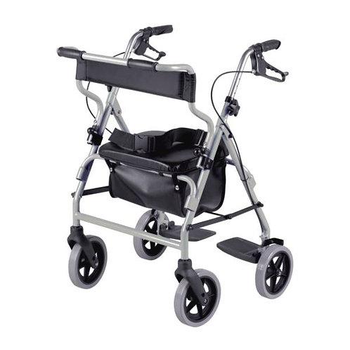 Déambulateur 4 roues et fauteuil de transfert 2 en 1