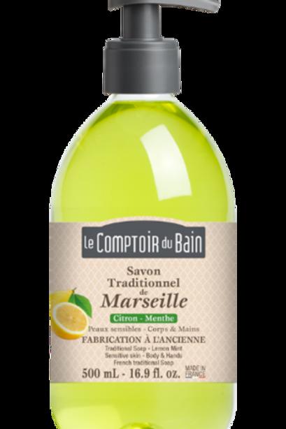 Savon Traditionnel de Marseille Citron- Menthe - 500 mL