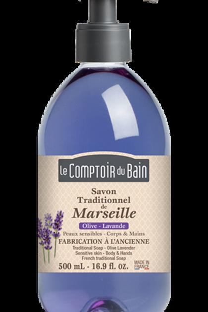 Savon traditionnel de Marseille Olive Lavande - 500 mL