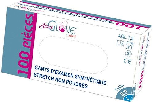 Gants d'examen synthétique stretch non poudrés x100 unités
