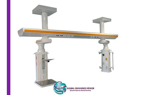 Sistema de Riel de techo suspendido para áreas de Terapia Intensiva.