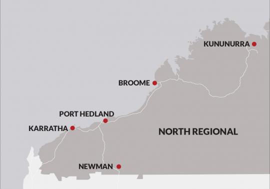 North regional Western Australia, showing Karratha, Port Hedland, Newman, Broome, Kununurra