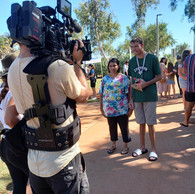Our Karratha participants, Mary and Luke being interviewed by channel nine for the Safe WA documentary series, Take Me Home