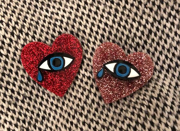 Heart Eye Brooch