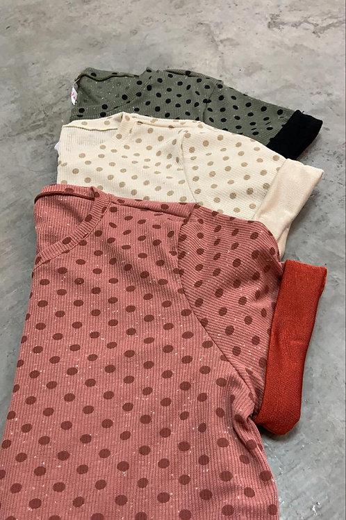 Camiseta dama manga corta con puntos - ATBW05
