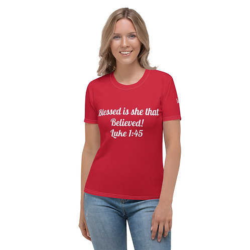 Blessed Is She That Believed Women's T-shirt (Red)
