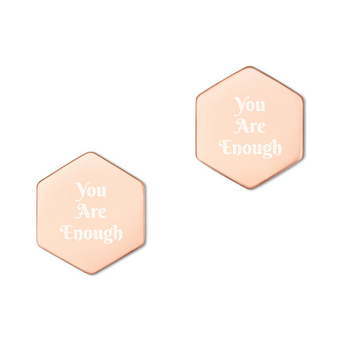 You Are Enough Sterling Silver Hexagon Stud Earrings