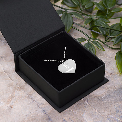 You Are Enough Engraved Silver Heart Necklace