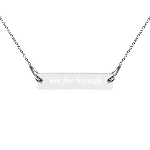 You Are Enough Engraved Silver Bar Chain Necklace