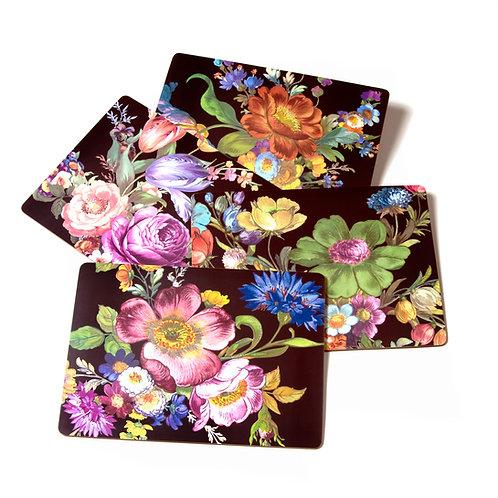 Flower Market Placemats - Black - Set of 4