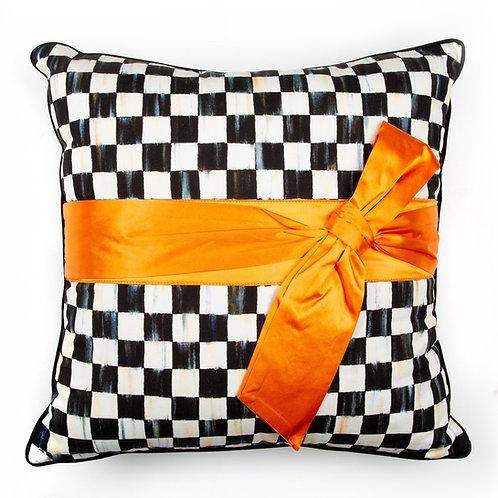 Courtly Check Sash Pillow - Orange