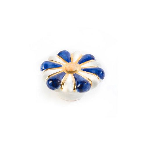 Flower Power Knob - Blue & White