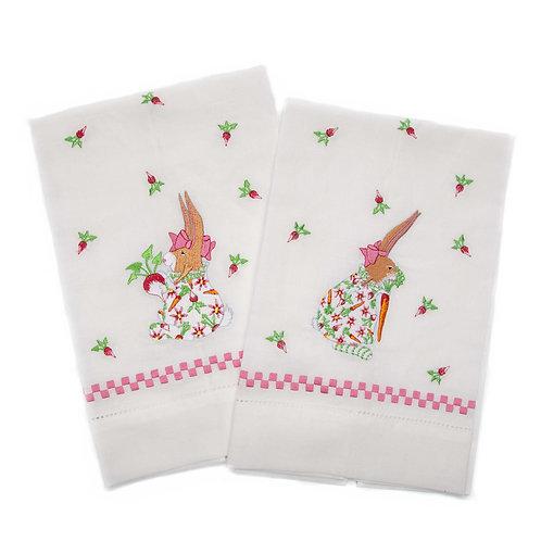 Patience Brewster Rabbit Tea Towels - Set of 2