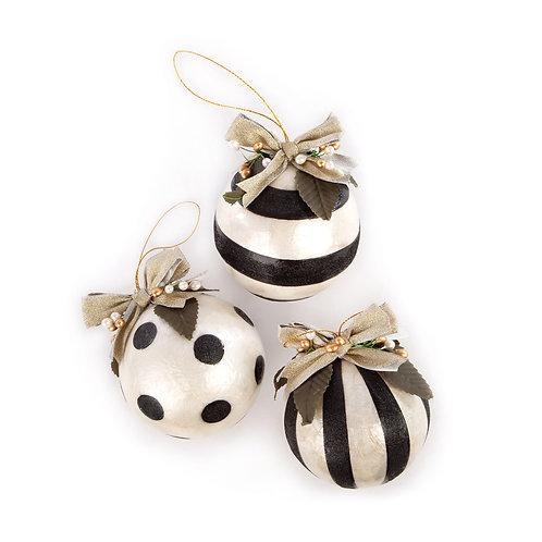 Golden Hour Geo Capiz Ball Ornaments - Set of 3