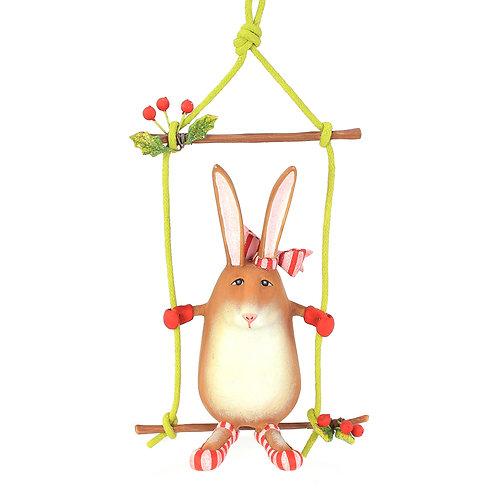 patience brewster rebecca rabbit on swing ornament