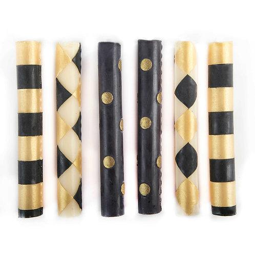 Mini Dinner Candles - Black & Gold - Set of 6