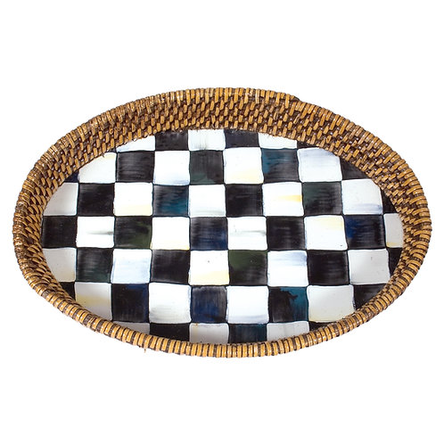 courtly check rattan & enamel tray - small