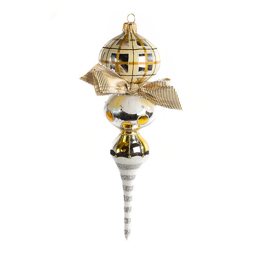 Glass Drop Ornament - Silver Lining Triple Drop