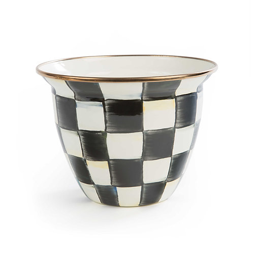 Courtly Check Enamel Flower Pot - Large