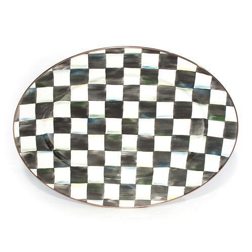 courtly check enamel oval platter - medium