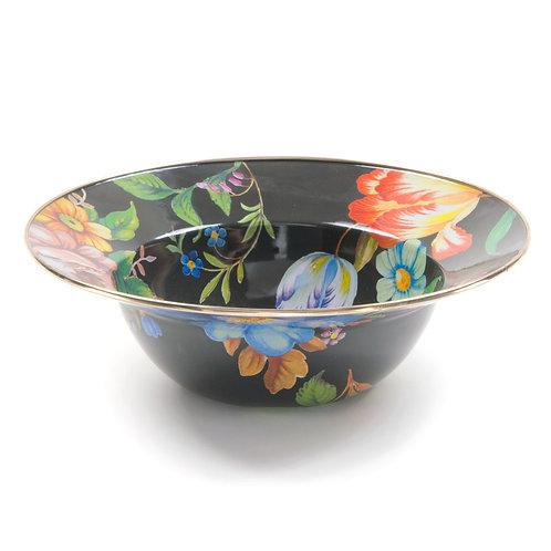 flower market serving bowl - black
