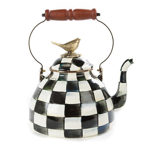 Courtly Check Enamel 3 Qt. tea Kettle with Bird Knob