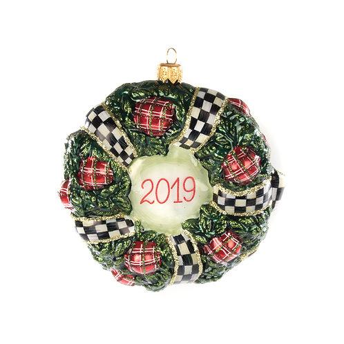 Glass Ornament - 2019 Wreath