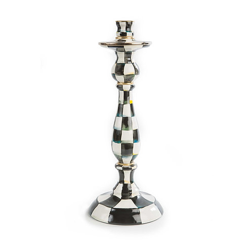 Courtly Check Enamel Candlestick - Large
