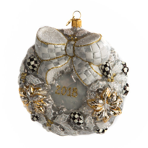 Glass ornament - silver lining 2018 wreath