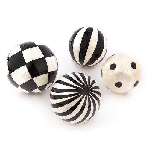 Black and White Capiz Balls - Set of 4 - Assorted